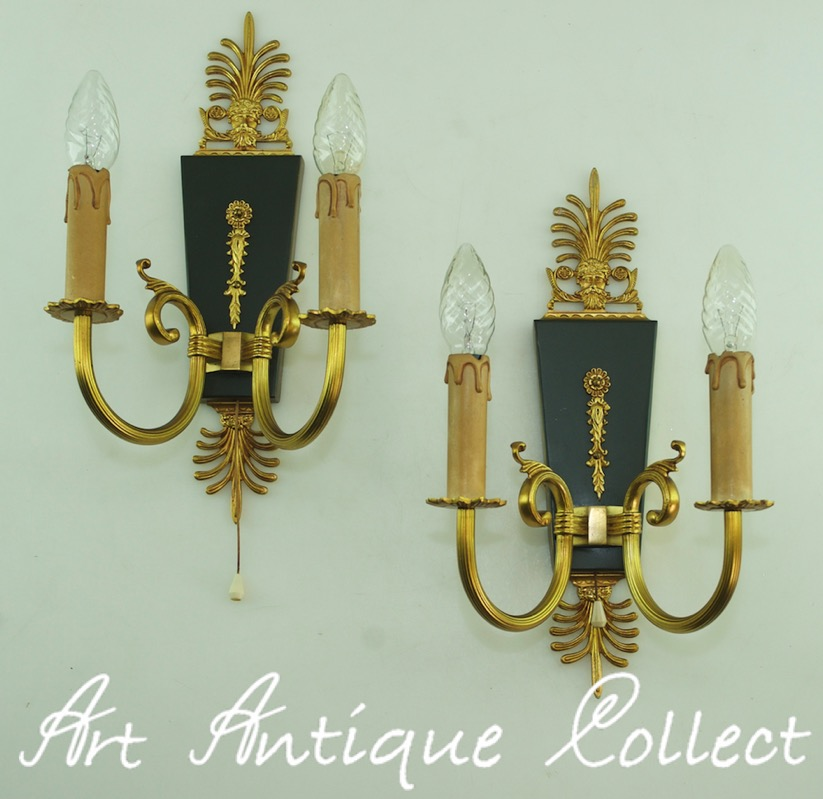 Brass Wall Sconce With Switch : Wall Lights Empire Antique Style Brass Sconces 14.6? Tall Vintage Cord Switch eBay