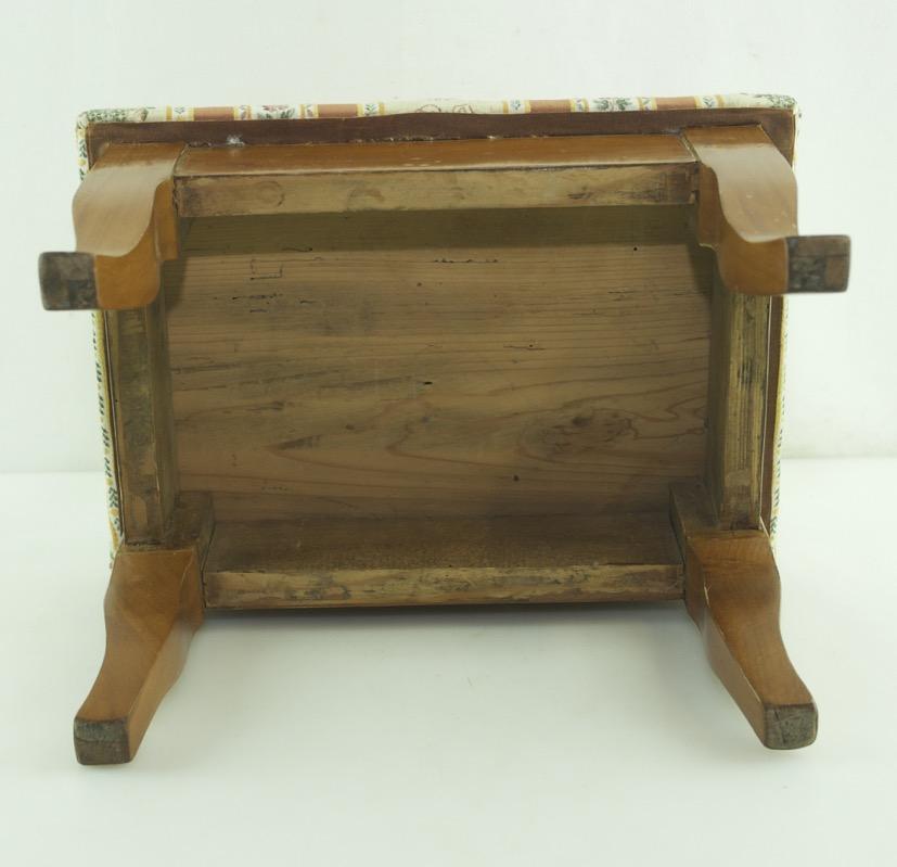 Antique Biedermeier Foot Stool Footrest Wood Fabric Cherry