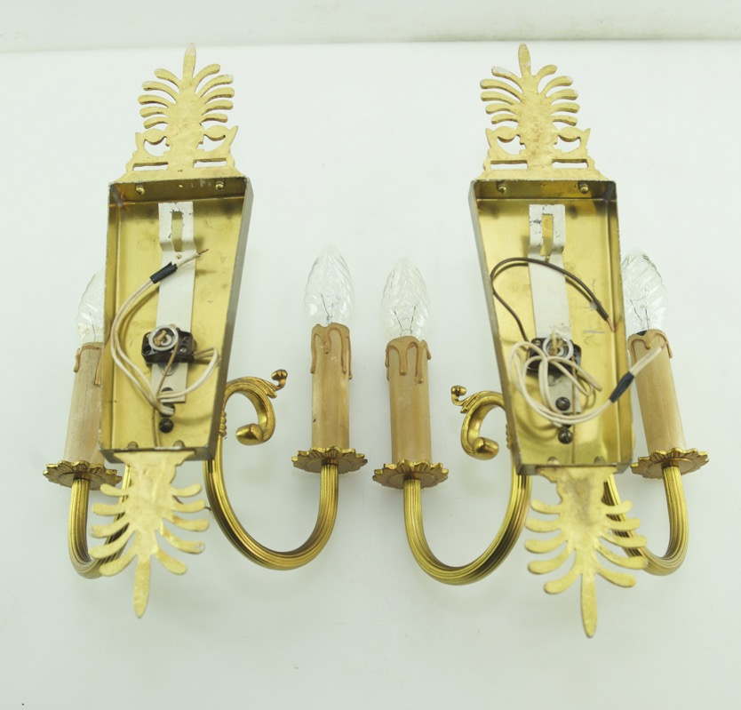Antique Wall Sconces With Switch : Wall Lights Empire Antique Style Brass Sconces 14.6? Tall Vintage Cord Switch eBay