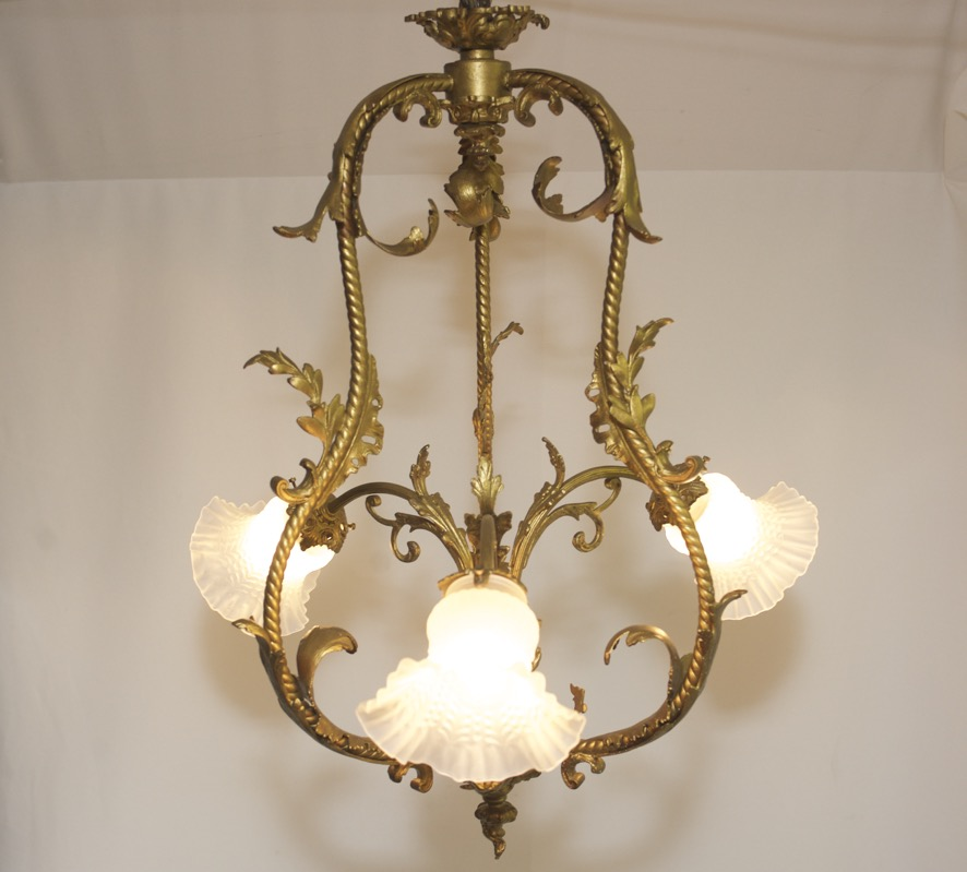 antik jugendstil kronleuchter messing leuchte lampe brass art nouveau chandelier ebay. Black Bedroom Furniture Sets. Home Design Ideas