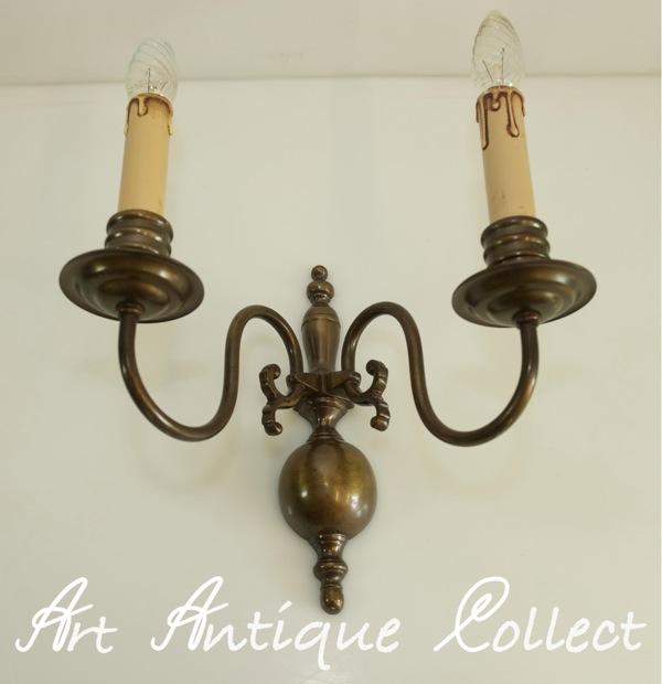 Antique applique murale en laiton style baroque grand led - Applique bougie murale ...