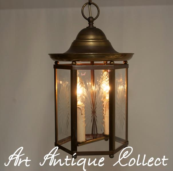 Art deco laterne lampe deckenlampe kerbschliff 6 eckig for Deckenlampe eckig