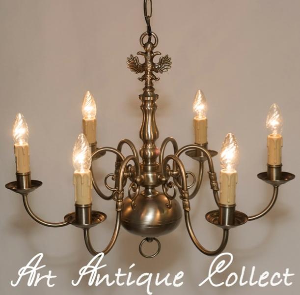 plafonnier lustre lampe lustre antique argent couleurs 6 fl tep - Kronleuchter Mit Adler