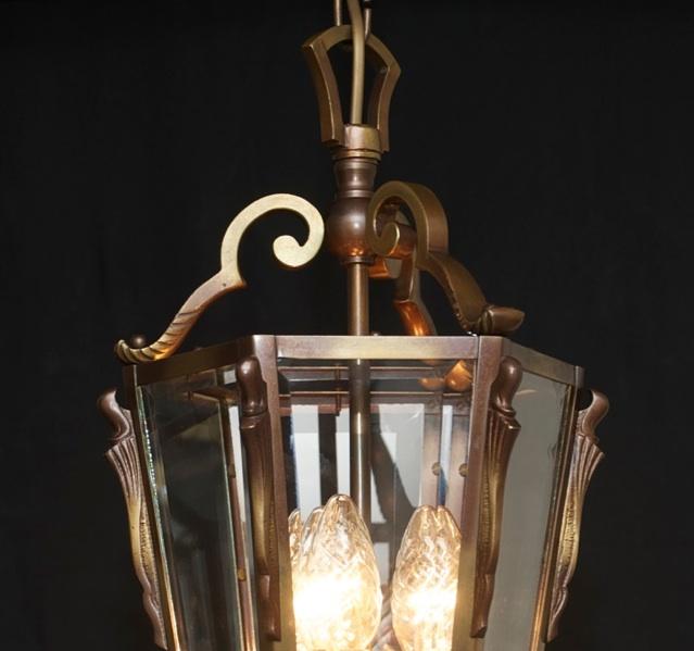 edel gro e laterne deckenlampe lampe massiv bronze 6eckig facettiert antik ebay. Black Bedroom Furniture Sets. Home Design Ideas