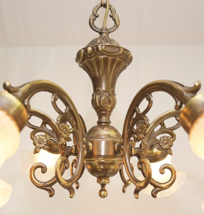 Chandelier art nouveau lamp ceiling light 6 vintage glass for Chandelier art nouveau