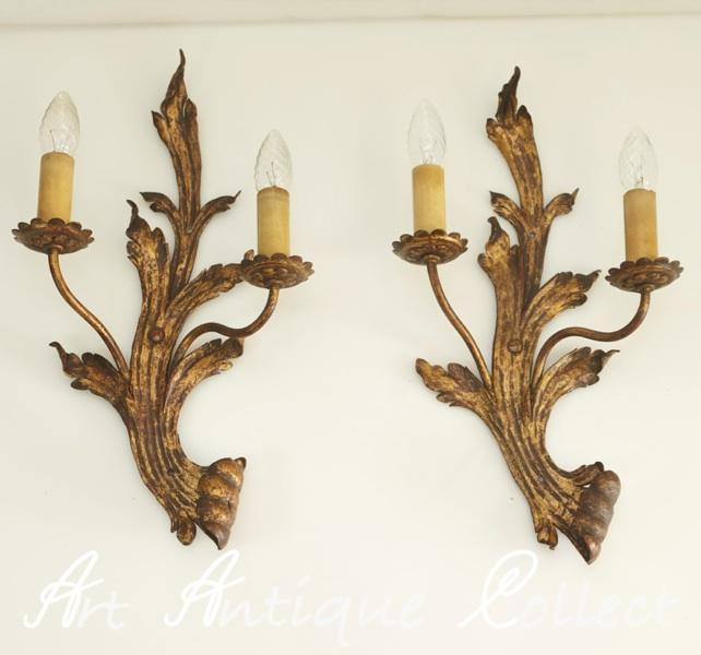 1 paar florentiner wandlampen antik lampe wandlampe um 1900 italien ebay. Black Bedroom Furniture Sets. Home Design Ideas