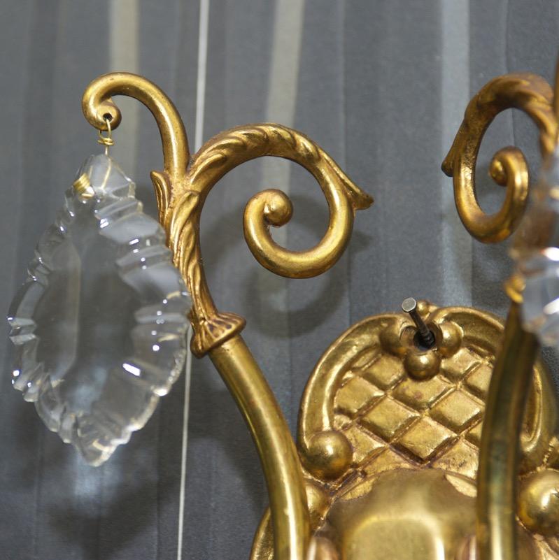 antik wandlampen wandleuchten messing kristalle kristalll ster alte lampe wand ebay. Black Bedroom Furniture Sets. Home Design Ideas