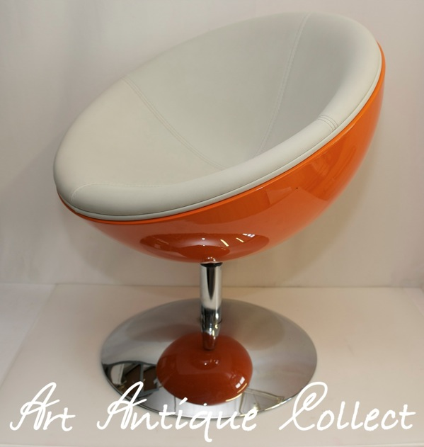 Retro 70er design stuhl lounge sessel schalensessel orange for Stuhl design drehbar