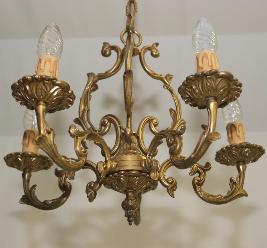 Ancien plafonnier lustre laiton rokoko style led 5 bras - Lustre ancien le bon coin ...