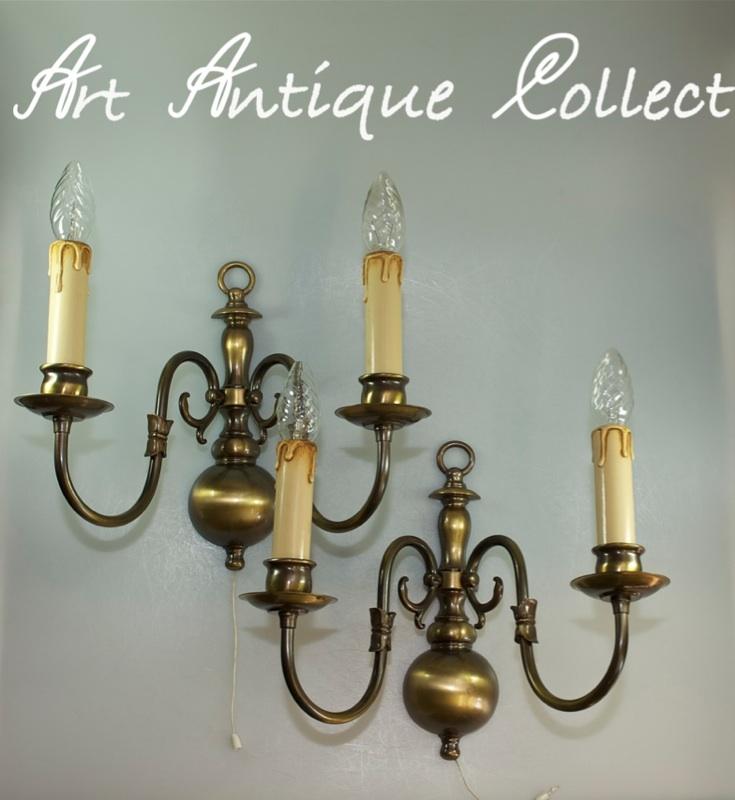 2 xl wandlampen messing lampe antik barock stil ein ausschalter wandleuchte. Black Bedroom Furniture Sets. Home Design Ideas