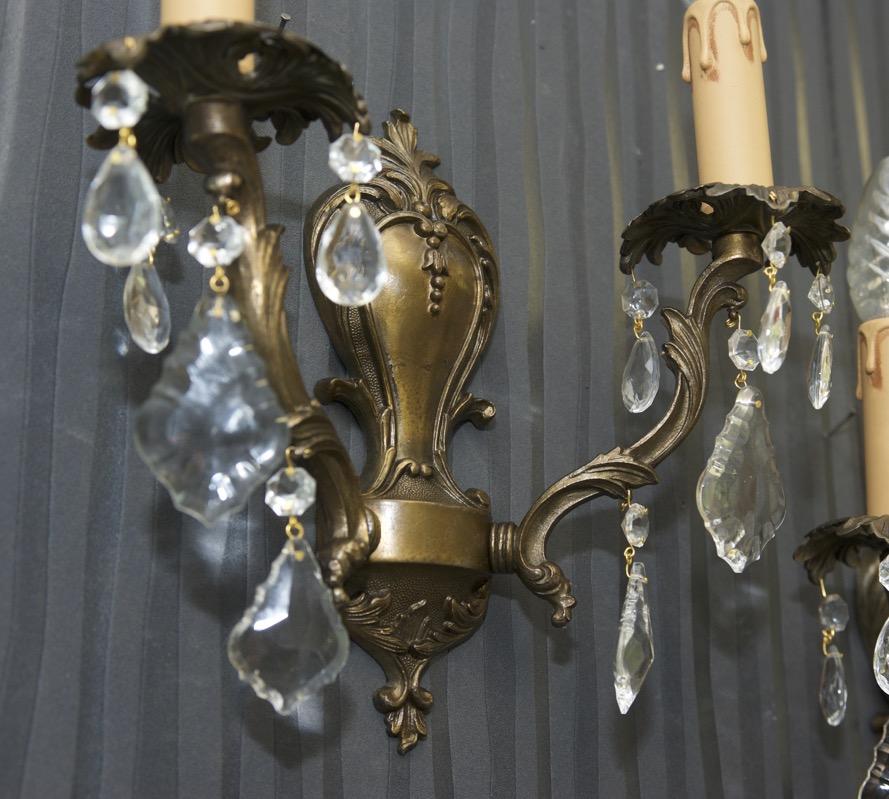 antik wandlampen messing im jugendstil kristallglas france wall lights brass 2fl ebay. Black Bedroom Furniture Sets. Home Design Ideas