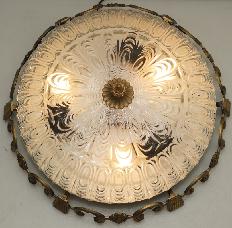 ancien plafonnier 47cm led lumi re dome lustre 2 ebay. Black Bedroom Furniture Sets. Home Design Ideas